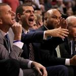Boston, MA - 11/08/2017 - (1st quarter) Boston Celtics head coach Brad Stevens facts to a call during the first quarter. The Boston Celtics host the Los Angeles Lakers at TD Garden. - (Barry Chin/Globe Staff), Section: Sports, Reporter: Adam Himmelsbach, Topic: 09Celtics-Lakers, LOID: 8.3.4269467444.