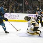 Boston Bruins goalie Anton Khudobin (35) blocks a shot by the San Jose Sharks center Tomas Hertl (48) during the second period of an NHL hockey game Saturday, Nov. 18, 2017, in San Jose, Calif. (AP Photo/Tony Avelar)