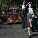 New Glasgow, Nova Scotia, town crier James H. Stewart led the way as Boston's annual Christmas tree gift arrived on Boston Common.