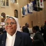 Boston, MA - 11/21/17 - Sister Marie-Judith Dupuy (cq) gave a passionate defense of TPS. MIRA's 13th annual Thanksgiving luncheon at the State House was held the morning after the Trump administration decided to revoke the TPS status for more than 50,000 Haitians around the nation. (Lane Turner/Globe Staff) Reporter: (Cristela Guerra) Topic: (22SharedTable)