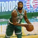 Boston Celtics' Marcus Morris during the first quarter of an NBA basketball game against the Los Angeles Lakers in Boston Wednesday, Nov. 8, 2017. (AP Photo/Winslow Townson)