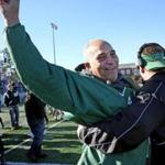 MARSHFIELD, MA- NOVEMBER 23, 2017- : Marshfield coach Lou Silva celebrates on the sideline during the 4th-quarter of the annual high school football game between Marshfield and Duxbury in Marshfield, MA on November 23, 2017. Marshfield won the 23rd annual high school football game between Marshfield and Duxbury. ( CRAIG F. WALKER/GLOBE STAFF) section: sports reporter: Marshfield 37-year coach Lou Silva