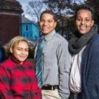 Five of the teens — Jonah Muniz, Lorrie Pearson, Shayne Clinton, Ayub Tahlil, and Edelind Peguero — outside the Youth Community Development Center in Jamaica Plain.