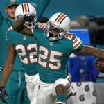 Miami Dolphins cornerback Xavien Howard had as many catches as Patriots receivers Chris Hogan and Brandin Cooks.