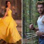 "Emma Watson as Belle from Disney's ""Beauty and the Beast"" and Hugh Jackman as Wolverine in ""X-Men: The Last Stand."""