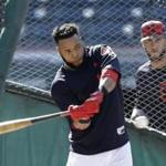 Cleveland Indians' Carlos Santana takes batting practice during team workout, Tuesday, Oct. 3, 2017, in Cleveland. The Indians will play the winner of the wild card game between the New York Yankees and the Minnesota Twins in the ALDS on Thursday. (AP Photo/Tony Dejak)