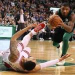 Boston MA 12/22/17 Boston Celtics Marcus Smart steals the ball from Chicago Bulls Denzel Valentine during fourth quarter action at TD Gardenl. (Matthew J. Lee/Globe staff) topic reporter:
