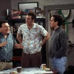 Newman (Wayne Knight), left, and Kramer (Michael Richards), center, explain their new idea of bringing a rickshaw business to New York City to Jerry (Jerry Seinfeld) in this scene from a 1998 episode of NBC's hit sitcom