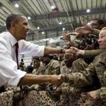 "President Obama with US troops at Bagram Air Base in Afghanistan in a scene from the documentary ""The Final Year."""