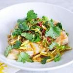 Steamed bass with ginger, scallions, and cilantro
