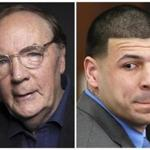 "In this photo combo, author James Patterson is pictured next to former Patriots tight end Aaron Hernandez, the subject of ""All-American Murder,"" which Patterson wrote with two coauthors."
