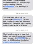An example of the text message reminders used by courts in New York City.
