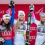 Mandatory Credit: Photo by LISI NIESNER/EPA-EFE/REX/Shutterstock (9352611a) Cornelia Huetter, Sofia Goggia and Lindsey Vonn Alpine Skiing World Cup in Garmisch-Partenkirchen, Garmisch Partenkirchen, Germany - 03 Feb 2018 (L-R) Second placed Sofia Goggia of Italy, first placed Lindsey Vonn of the USA and third placed Cornelia Huetter of Austria celebrate on the podium after the Women's downhill race of the FIS Alpine Skiing World Cup event in Garmisch-Partenkirchen, Germany, 03 February 2018.