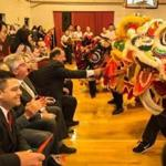 Elected officials watched as students from the Rhode Island Kung Fu Club performed a lion dance during opening ceremonies of the 30th annual Lunar New Year festival hosted by Quincy Asian Resources.