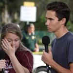 "Marjory Stoneman Douglas High School studens Kelsey Friend (left) and David Hogg spoke on Thursday about the attack that killed 17 people on Wednesday. Hogg, 17, appeared on ""Meet the Press"" over the weekend and had this message for President Trump: ''You're the president. You're supposed to bring this nation together, not divide us.''"