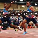 Christian Coleman (left) wins the 60-sprint in world-record time at the at the US Indoor Championships in Albuquerque.