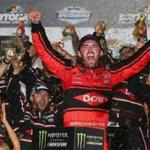 DAYTONA BEACH, FL - FEBRUARY 18: Austin Dillon, driver of the #3 DOW Chevrolet, celebrates in Victory Lane after winning the Monster Energy NASCAR Cup Series 60th Annual Daytona 500 at Daytona International Speedway on February 18, 2018 in Daytona Beach, Florida. (Photo by Sarah Crabill/Getty Images)