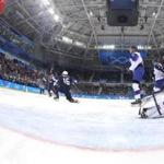GANGNEUNG, SOUTH KOREA - FEBRUARY 20: Ryan Donato #16 of the United States celebrates after scoring a goal against Jan Laco #50 of Slovakia in the second period during the Men's Play-offs Qualifications game on day eleven of the PyeongChang 2018 Winter Olympic Games at Gangneung Hockey Centre on February 20, 2018 in Gangneung, South Korea. (Photo by Bruce Bennett/Getty Images)