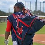 Fort Myers, FL 2/20/2018: With the impending signing of free agent slugger J.D. Martinez (not pictured), could Red Sox veteran Hanley Ramirez be packing his bag and heading out of town? He is pictured carrying his equipment bag this morning at Spring Training at the Player Development Complex at Jet Blue Park. (Jim Davis/Globe Staff)