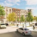 A rendering of a new garage and public plaza to be built on Revere Road in Quincy Center on the site of the city's Hancock Lot.
