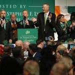South Boston, MA -- 3/18/2018 - (L-R) Senator Elizabeth Warren sings with Boston City Councilor Michael Flaherty and Congressman Stephen F. Lynch as Governor Baker, Lt. Governor Karyn Polito and Mayor Marty Walsh clap along during the Annual St. Patrick's Day Breakfast at the Ironworkers Local 7 Union Hall. (Jessica Rinaldi/Globe Staff) Topic: 19stpatsbreakfast Reporter: