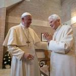 Pope Francis (left) and Pope emeritus Benedict XVI at a meeting in November, 2016.