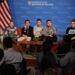 Cambridge, MA - 3/20/2018 - Student panel from Parkland, Forida's Stoneman Douglas High School discuss changing the conversation on guns at Harvard Kennedy School Forum hosted by the Institute of Politics. Panel: L TO R: Meighan Stone, (moderator), Emma Gonzalez, David Hogg, Cameron Kasky, Alex Wind, Matt Deitsch, Ryan Deitsch. #NEVERAGAIN Forum at Harvard Kennedy School. - (Barry Chin/Globe Staff), Section: Metro, Reporter: Globe Staff, Topic: 21Never Again LOID: