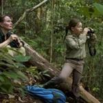 Cheryl Knott (left) and daughter Jessica Laman observed a wild orangutan in Gunung Palung National Park in Indonesia.
