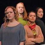 "From left to right, Jackie Floyd, Acadia Weinberg, Karina Ithier, and Helena Zeng are part of the cast of ""Decisions,"" a play written and performed by Wellesley College students. ""Working on this play has forced me to do a lot of reflecting,"" Ithier said. ""The things that come out when you write about your life make you think."""