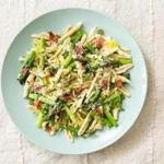Pasta with asparagus, leeks, and bacon.