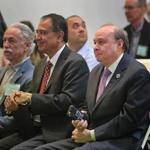 In April, then-senator Stan Rosenberg (right) spoke at an Earth Day celebration of his alma mater, the University of Massachusetts Amherst.