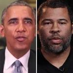 "Buzzfeed and ""Get Out"" director Jordan Peele (right) teamed up to create a digitally manipulated video of President Obama."