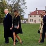 President Trump, Melania Trump, Brigitte Macron, and French President Emmanuel Macron, arrived Monday for dinner at the estate of George Washington in Mount Vernon, Va, The Macrons will be feted with a state dinner on Tuesday.
