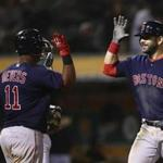 Boston Red Sox's Mitch Moreland, right, celebrates with Rafael Devers (11) after hitting a grand slam off Oakland Athletics' Emilio Pagan in the sixth inning of a baseball game Friday, April 20, 2018, in Oakland, Calif. (AP Photo/Ben Margot)