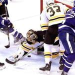 The pressure was on Bruins goaltender Tuukka Rask in Game 6 as Connor Brown (28) moves in.