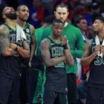 Philadelphia, PA: 5-7-18: As the final seconds ticked off the clock, the Celtics (left to right) Marcus Morris, Al Horford, Terry Rozier III, Aron Baynes and Marcus Smart are pictured. The Boston Celtics visited the Philadelphia 76ers for Game Four of their NBA Eastern Conference Semi Final Playoff series at the Wells Fargo Center. (Jim Davis/Globe Staff)