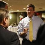 US Senate candidate Geoff Diehl talked with supporters at a fundraiser in Waltham on Monday.