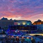 Twilight at Place des Arts in Montreal.