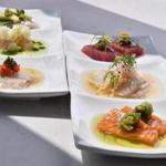 A crudo tasting at Bar Mezzana features the chef's choice of six different fish.