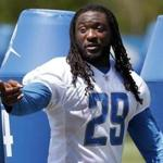 Detroit Lions running back LeGarrette Blount points after an NFL football practice in Allen Park, Mich., Monday, June 11, 2018. (AP Photo/Paul Sancya)