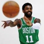 Canton, MA - 9/24/2018 Celtics no. 11 Kyrie Irving poses for a portrait at the Boston Celtics Media Day in Canton, Mass. on Monday September 24, 2018.(Michael Swensen for The Boston Globe) Topic: (metro)