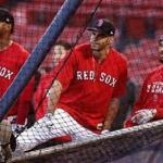 Boston, MA - 10/12/2018 - Boston Red Sox shortstop Xander Bogaerts (2), Boston Red Sox right fielder J.D. Martinez (28), Boston Red Sox right fielder Mookie Betts (50) around the batting cage at today's workout in preparation for Game 1 of the ALCS vs. the Houston Astros at Fenway Park. - (Barry Chin/Globe Staff), Section: Sports, Reporter: Peter Abraham, Topic: 13Red Sox, LOID: 8.4.3455684276.