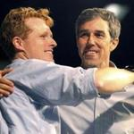 Representatives Joseph P. Kennedy III and Beto O'Rourke embraced Saturday in McAllen, Texas. O'Rourke is running for the US Senate seat held by Ted Cruz.