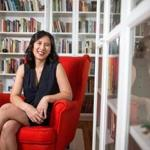 08/20/2017 CAMBRIDGE, MA Author Celeste Ng (cq) poses for a portrait in her home office in Cambridge. (Aram Boghosian for The Boston Globe)