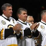 Cam Neely, Ray Bourque, and Terry O'Reilly were on hand for Rick Middleton's jersey retirement ceremony.