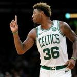 BOSTON, MA - OCTOBER 2: Marcus Smart #36 of the Boston Celtics reacts during the preseason game against the Cleveland Cavaliers at TD Garden on October 2, 2018 in Boston, Massachusetts. (Photo by Maddie Meyer/Getty Images)