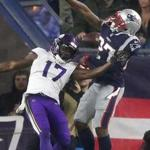 Foxborough, MA 12/02/18- Patriots J.C. Jackson denies Vikings Aldrick Robinson on a catch in the third quarter. The New England Patriots play against the Minnesota Vikings at Gillette Stadium Sunday, Dec. 2, 2018.(Jim Davis/Globe Staff)