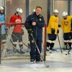John Findley is coaching Notre Dame Academy girls' hockey with an assist from his daughter, Martha.
