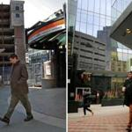 Left: A man walked through Downtown Crossing in 2009. Right: The scene at Downtown Crossing today.