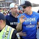 Boston, MA - 2/5/19 Rob Gronkowski (cq) makes his way through the crowd after the parade. The six-time Super Bowl-winning New England Patriots are celebrated with a parade. Photo by Pat Greenhouse/Globe Staff Topic: 06parade